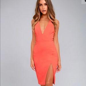 New Lulu's Aglow Neon Coral Bodycon Midi Dress